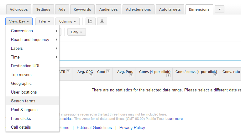 AdWords Search Query Report