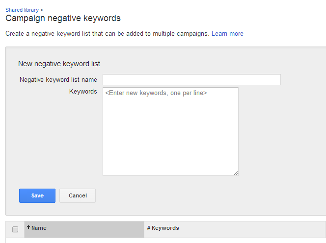 AdWords Account Negative Keyword