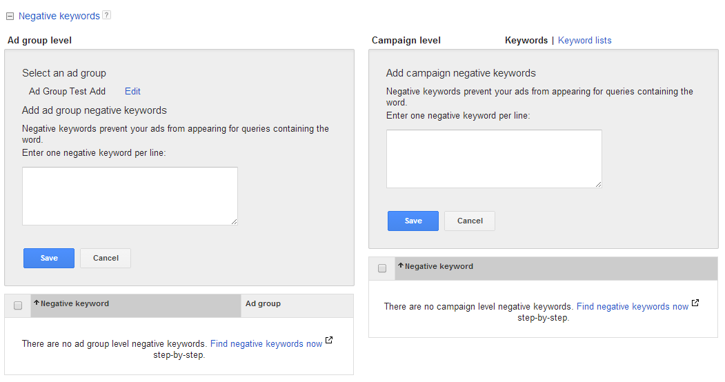 AdWords Campaign Negative Keyword